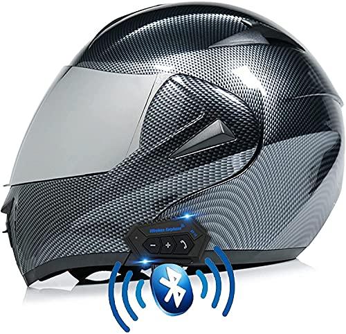Motorbike Helmet Casco de motocicleta con Bluetooth, aprobado por ECE / DOT, visores duales modulares, lentes dobles HD a prueba de lluvia, cascos de motocross para motocicletas, casco de locomotora S
