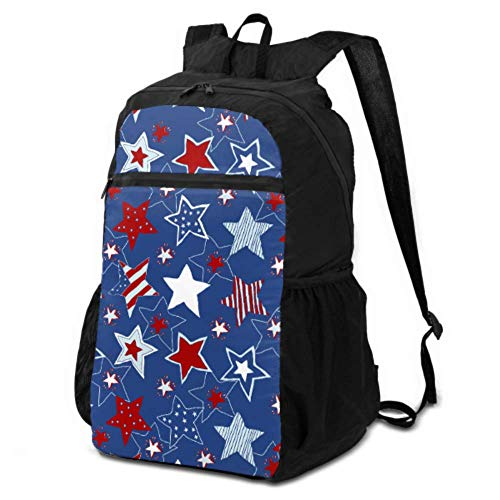 JOCHUAN Hiking Daypack Backpack 4th of July Stars and Stripes Daypacks for Travel Women Hiking Backpack Daypack Lightweight Waterproof for Men & Womentravel Camping Outdoor