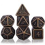 Set de Dados de rol Metal, Poliédricos DND Dice Set Sólido Juego De Dados para RPG Dragones y Mazmorras Juegos de Mesa D&D Juegos De rol (Barrel Bronze Plating)