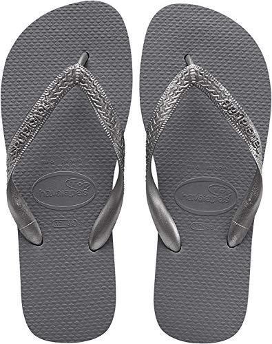 Havaianas Women's Top Tiras Flip Flop Sandal, Steel Grey, 9-10