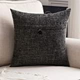 MIULEE Decorative Linen Throw Pillow Covers Cushion Case Button Vintage Farmhouse Pillowcase for Couch Sofa Bed 20 x 20 Inch 50 x 50 cm Black
