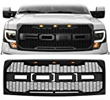 Front Grille for 2009-2014 Ford F150 Raptor Style Replacement Front Grill with 3 LED Lights