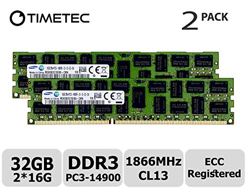 Timetec Original M393B2G70EB0-CMA 32GB KIT (2x16GB) DDR3 1866MHz PC3-14900 Registered ECC 1.5V CL13 2Rx4 Dual Rank 240 Pin RDIMM Server Memory RAM Module Upgrade (32GB KIT (2x16GB))
