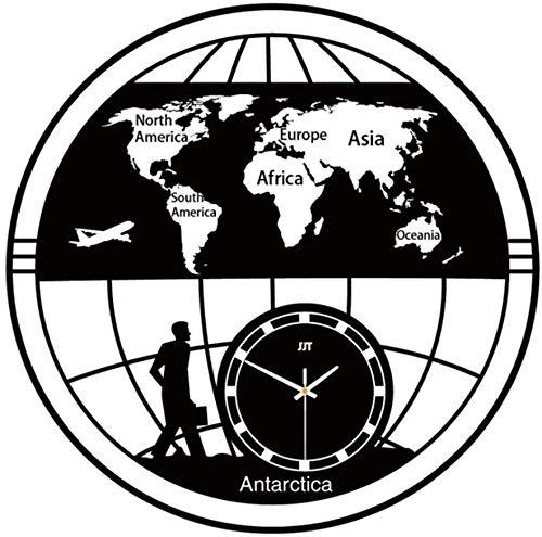 WGDAV Orologio da Parete con Mappa Vecchia Vintage, Orologio da Parete con Terra Piatta Orologio con Mappa del Mondo Orologio da Viaggio Art Decor Clock, Idee Regalo fuumlr Donna Uomo Nero
