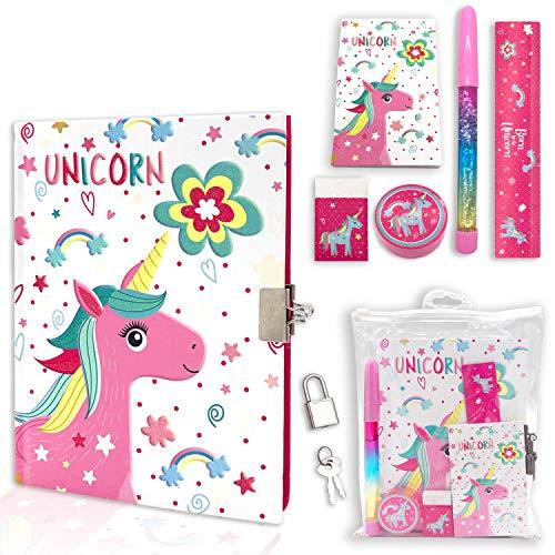 EverCreatives Girls Diary with Lock,Kids Journal Set for Girls Includes 7.1x5.3 Inches Notebook Memo Pad Glitter Pen Ruler Sharpener Eraser in One Jouranl Kit(Unicorn)