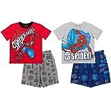 Marvel Avengers Spiderman Toddler Boys 4 Piece Mix n' Match T-Shirt & Shorts Set 2T