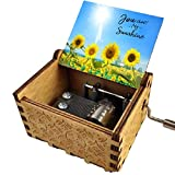 Demacia Music Box Hand Crank Engraved Musical Box Gift You are My Sunshine Mechanism Antique Vintage Personalizable Gift (Sunflower)