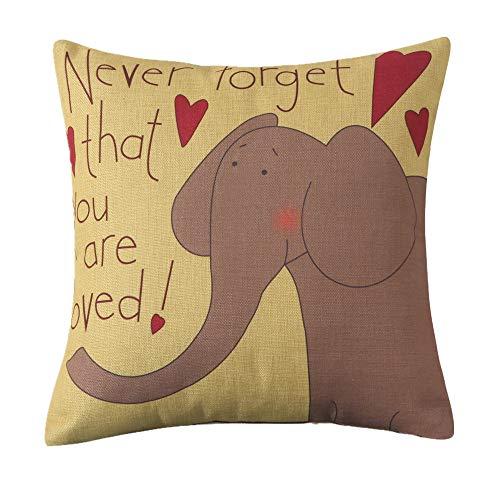 MF Square 18' Cartoon Animal Cushion Cover Cotton Linen Animals Pillowcase Car Home Decor Chair Sofa Seat (Elephant)
