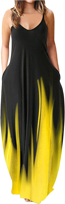 Jaqqra Summer Dresses for Women Sleeveless Floral Print Boho Maxi Dress Casual Loose Beach Sundress Oversized Cami Dress