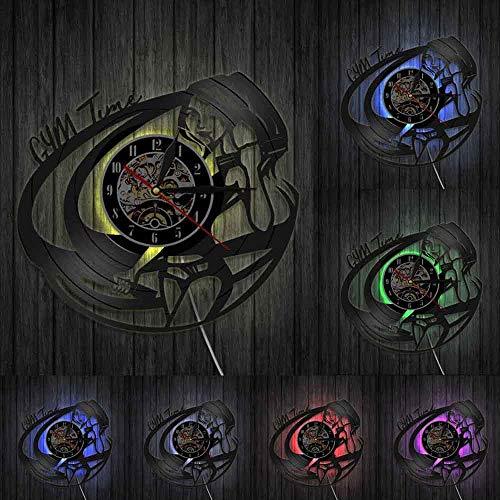 Gimnasio habitación decoración de pared reloj deportivo chica culturismo reloj de pared Motivación cita tiempo vinilo vinilo disco pared reloj luces LED
