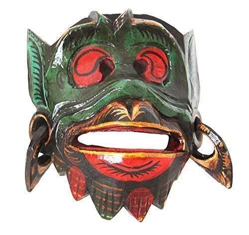 Double Duck Mono Madera Pared Máscara de Hanuman Dios Hindú Mano- Tallada en Bali Comercio Justo Nuevo - Marrón Claro, 21 cm Altura x 18 cm Ancho