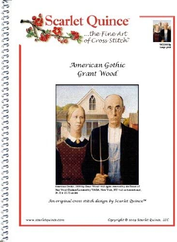 Scarlet Quince WOO001lg American Gothic by Great interest Counted Wood Grant Cr New York Mall