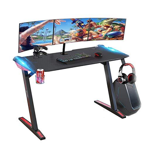 SOUTHERN WOLF Mesa Gaming, Escritorio Gaming de 47 Pulgadas con Revestimiento de Fibra de Carbono, Mesa Profesional en Forma de Z, Escritorio ergonómico para computadora para el hogar