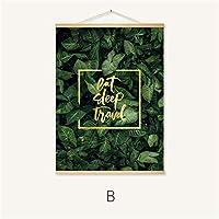 ノルディックキャンバス絵画現代版画植物の葉アートポスターは、グリーンアートの壁の写真リビングルームを印刷します,B,80*60CM