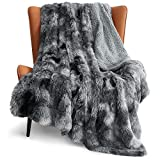 Bedsure Faux Fur Throw Blanket for Couch Grey - Tie-dye Fuzzy Fluffy Super Soft Furry Plush Decorative Comfy Shag Thick Sherpa Shaggy Throws and Blankets for Sofa, Bed, 50x60 inches