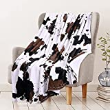 RosieLily Brown Cow Print Blanket Soft Cow Print Throw Blankets Fleece Blanket Cow Print Blanket for Couch Animal Cow Blanket Fluffy Blanket Travel Blanket Cute Throw Blankets (60Wx80L)