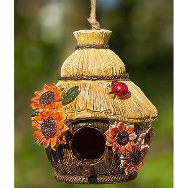 Ladybug and Flowers Decorative Hand-Painted Bird House