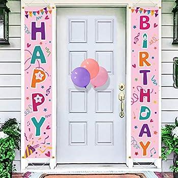 Bunny Chorus Happy Birthday Porch Sign Birthday Yard Signs Door Banner Hanging Indoor Outdoor Decor Birthday Party Decorations Supplies Pink