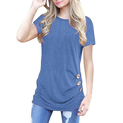 T-Shirt Slim à Manches Courtes pour Femmes, Kinlene Col Rond Et T-Shirt Bouton L'éTé, Une Maison Sexy Et Respirante pour Toutes Les Occasions
