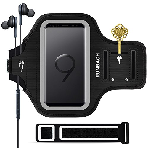 RUNBACH Galaxy S9 Armband, Sweatproof Running Exercise Gym Cellphone Sportband Bag with Fingerprint Touch/Key Holder and Card Slot for Samsung Galaxy S9 (Black)