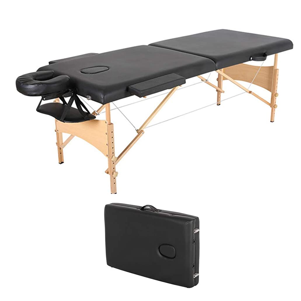 介入する患者嬉しいですポータブルマッサージテーブルなどサロン、タトゥー、レイキ、スウェーデン式マッサージに関与専門家のための2セクション折りたたみソファーベッド軽量ビューティーサロンタトゥーセラピー木製フレーム