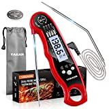 YAKAON Upgraded Instant Read Meat Thermometer, 2-in-1 Ultra Fast Digital Meat Thermometer for Cooking, Oven Safe Food Thermometer with Alarm Set, Backlight, Magnet for Deep Fry, BBQ, Grill, Turkey