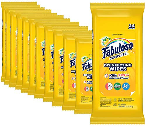 Fabuloso Complete Wipes, Lemon, 24 Count, Pack of 12