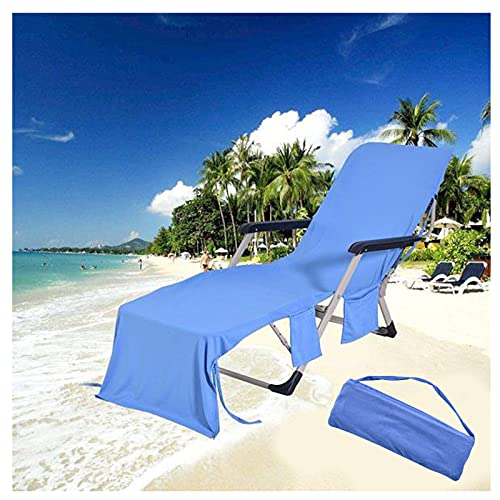 Beach Towel for Chaise Longue, Extra Large Solid Color Microfiber Foldable Portable Quick Drying Towels with Side Pockets (Blue)