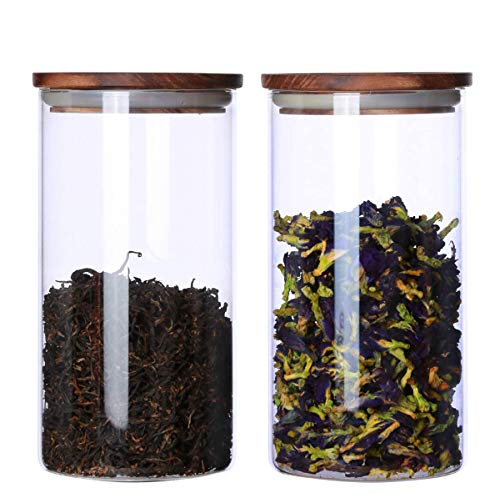 KKC HOME ACCENTS Glass Canister with Wood Lid,Tea Canisters for Loose Tea,Airtight Tea Containers,Airtight Glass Container for Loose Leaf Tea,Coffee Bean,Glass Jar Wood Lid,39 FLoz (1150 ML)