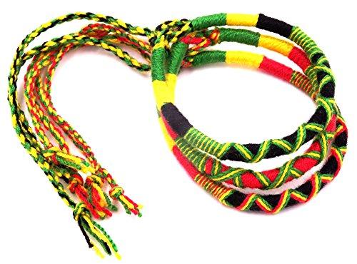 Lote de 3-Pulsera, diseño de amistad algodón de Macramé, Friendship; amuleto rasta reggae Jamaica, diseño de bob marley