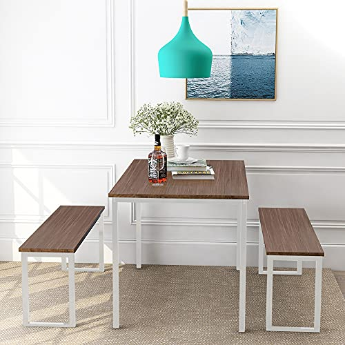 Dining Room Table Set, 3 Pieces Farmhouse Kitchen Table Set with Two Benches