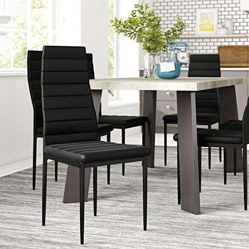 EBS My Furniture - Set di 4 sedie per sala da pranzo, cucina, in ecopelle, con schienale alto, con gambe in metallo rivestito, per casa, ufficio, cucina, nero/bianco (4 sedie, nero)