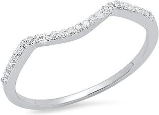 0.12 Carat (ctw) 14K Gold Round Cut Diamond Ladies Anniversary Wedding Stackable Band Guard Ring