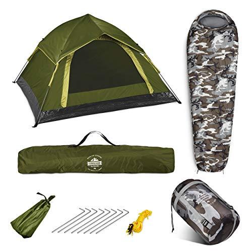 Lumaland Outdoor Pop Up Zelt 3 Personen Festivalzelt + Schlafsack 230x80 cm - Camping Set - Wasserdichtes Zelt - Warmer Schlafsack, kompaktes Packmaß - Grün/Camouflage Grau