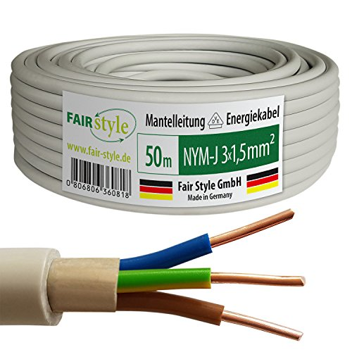 Fair Style 50m NYM-J 3x1,5 mm² Mantelleitung Elektro Strom Kabel Kupfer eindrähtig Made in Germany