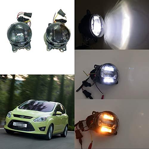 July King 6000k 3000LM Estuche para lámpara antiniebla LED para Focus C-MAX 2010-2015, lámpara antiniebla con lente de 20W + luz de circulación diurna de 6W DRL + señales de giro amarillas de 4W