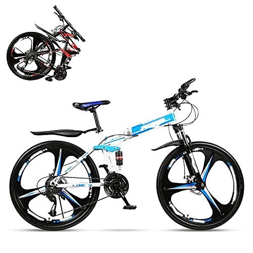 DGHJK Bicicleta Plegable para Adultos, Bicicleta de montaña de Velocidad Variable de 26 Pulgadas, Doble Amortiguador para Hombres y Mujeres, Frenos de Disco Dobles, 21/24/27/30 velocidades Opcional