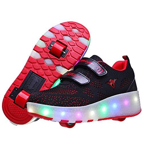ZZRA Unisex Patines de Ruedas para niños con Dos Ruedas Led Luz Automática de Skate Zapatillas Actividades al Aire Libre