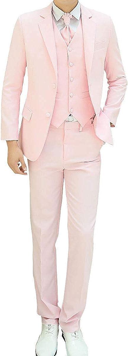 Wonder Stage Men's Slim Fit 4 Pc Tuxedo Casual Dress Suit Jacket Pants Vest Ascot Tie Set