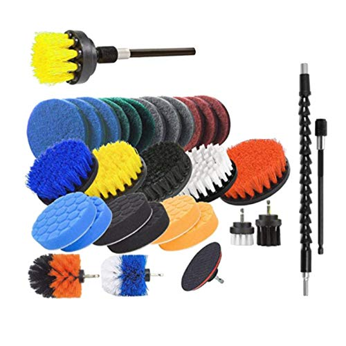 gazechimp 31pcs Drill Brush Attachment Set Power Scrubber Scrubbing Pads Cleaning Kit