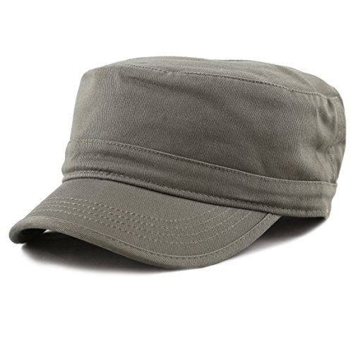 The Hat Depot Cadet Army Washed Cotton Basic Cap Military Style Hat (Olive)