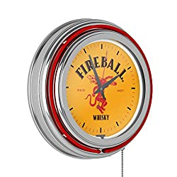 Trademark Global Neon Wall Clock-Fireball Double Rung Analog Clock with Pull Chain-Pub, Garage, or Man Cave Accessories (Red)