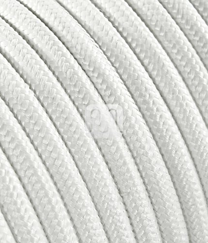 Cable eléctrico redonda de madera con revestimiento de tela de color blanco, 2 x 0,75 para luces de techo, lámparas, Pantalla para lámpara design. Made in Italy: