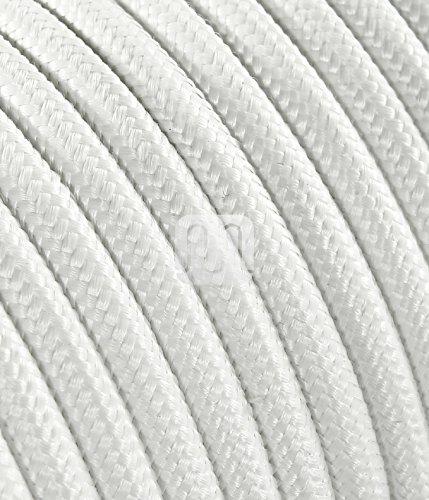 Textilkabel für Lampe, Stoffkabel 3-adrig (3x0,75mm²) - Weiß. Made in Italy (10 Meter)