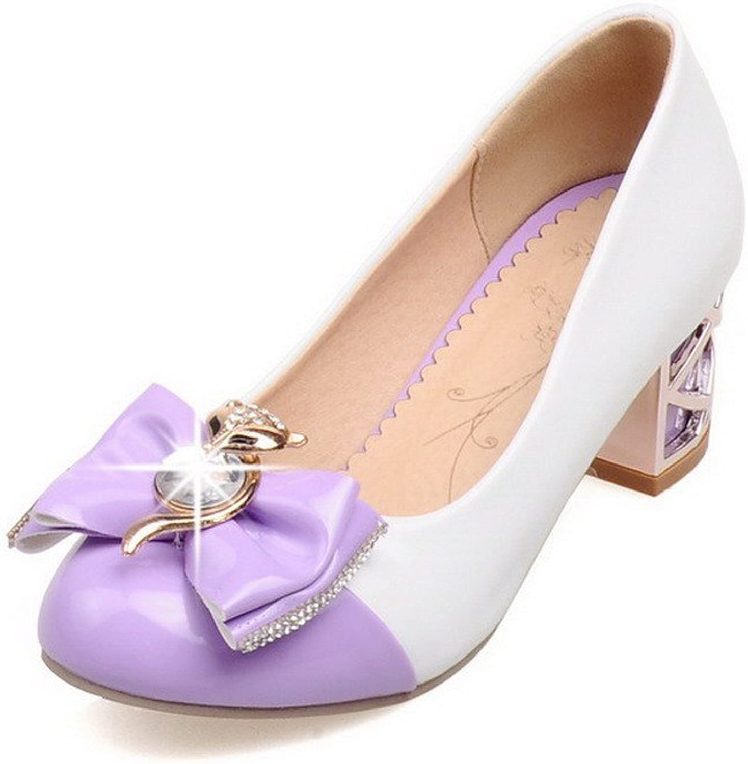 WeiPoot Women's Assorted color PU Kitten-Heels Round Closed Toe Pull-on Pumps-shoes