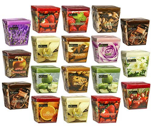 All2shop Scented Votive Candles Short Set of 18 Assorted Healing Candles for Relaxation & Aromatherapy- Long Burning at Least 20hrs Each 360hrs Total