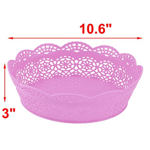 uxcell Plastic Home Hollow Design Table Decor Candy Snack Fruit Plate Basket Holder Purple