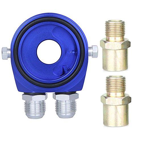 AN10 Voiture universel Auto aluminium pression température d'huile filtre Sandwich refroidisseur adaptateur réinstallation Kit - bleu
