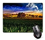 Drempad Tappetini per il Mouse Custom, Mouse Pad,Unique Printed Mouse Mat Design for Landscape Nature Field Rural Sky Autumn Green Country Agriculture Sunset Countryside Hill Scenic Season Meadow