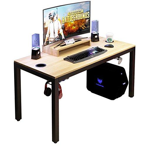 DlandHome Escritorio para computadora de Juegos, Mesa de Juego/estación de Trabajo de 120 * 60 cm con Soporte para Monitor Desmontable, Teca & Negro